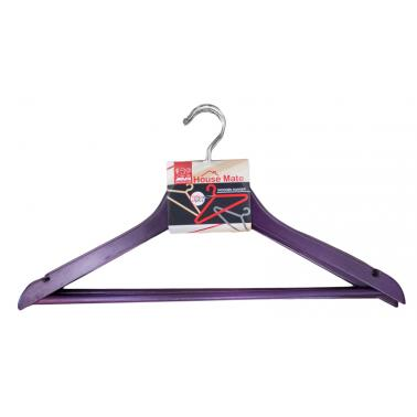 Дървени закачалки за дрехи 44x23x1,2см  3бр. лилави (P 66 / COLOR) - Horecano