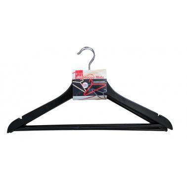 Дървени закачалки за дрехи 44x23x1,2см 3 бр. черни (P66-Black) - Horecano