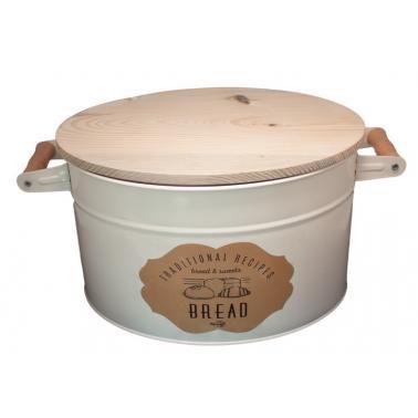 Метална кутия за съхранение на хляб с дървен капак бежова FERONYA-(FEMU-28)