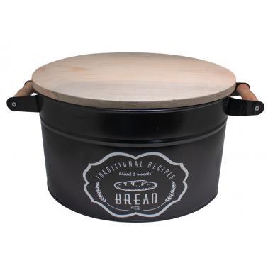 Метална кутия за съхранение на хляб с дървен капак черна FERONYA-(FEMU-28)