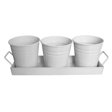 Комплект метални кофички 3бр 10xh10см  на поставка (9x30см)  бели FERONYA-(5410-3)