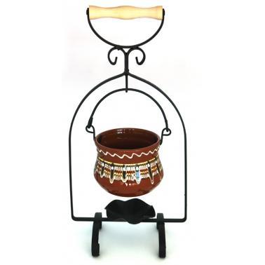 Комплект стойка от ковано желязо с менче от троянска керамика 330мл ММ - Horecano