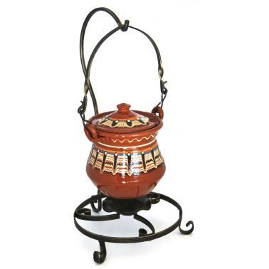 Комплект стойка от ковано желязо със супник / менче от  троянска керамика 1.5л ММ - Horecano