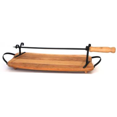 Дървена дъска бъбрек комплект с шиш 50см ММ - Horecano