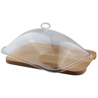 Комплект правоъгълна дървена дъска с акрилен капак 34,5x24,5xh20см (HC-17318)- Horecano