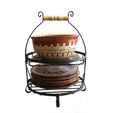 Стойка от ковано желязо  комбинирана за чинии + гювеч  ММ - Horecano