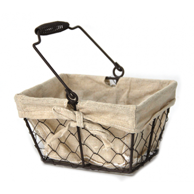 Метален панер правоъгълен с 24x19,5x13,5см - текстил (W1018-L) - Horecano