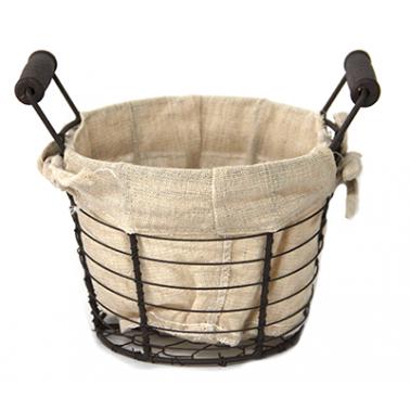 Метален панер кръгъл с дървени дръжки  15,5x12xh14,5см - текстил (W1030-S) - Horecano