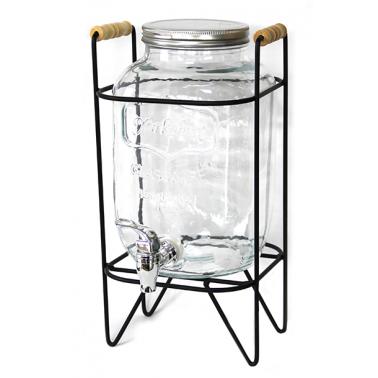 Стъклен диспенсър 4л с метална стойка 17,5x17xh36,5см (K9945-4) - Horecano