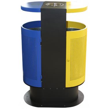 Метален екстериорен кош двоен външен с пепелник 62.5x40x96.5см. ЕК-9453 - Horecano