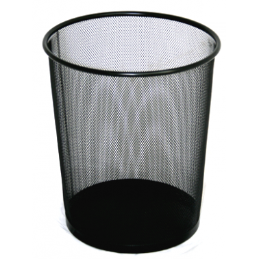 Метален кош канцеларски с мрежа, черен, малък, 26.5х29.5 см. ЕК-9474B - Horecano