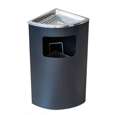 Метален екстериорен пепелник ъглов черен 25x25x62см ЕК-9476 PS - Horecano