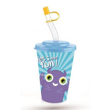 Пластмасова детска чаша с капаче и сламка 400млс два различни декори TZ-AP-9127- Titiz