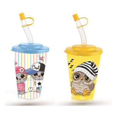 Пластмасова детска чаша с капак и сламка 650мл различни декори TZ-AP-9128- Titiz