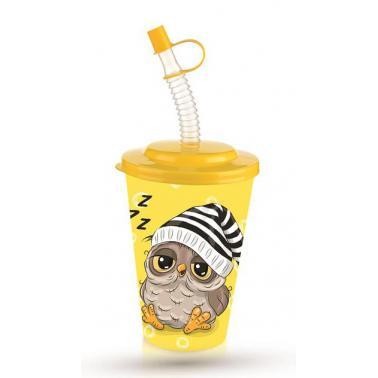 Пластмасова детска чаша с капак и сламка 650млс два различни декори TZ-AP-9128- Titiz