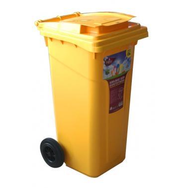 Пластмасов кош за смет 120л. жълт (CK-404)  -  Irak Plastik