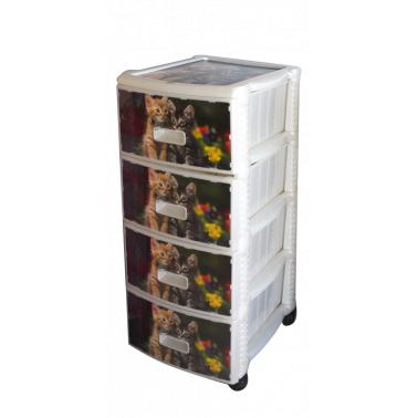 Пластмасов шкаф 4 етажен с декор (OR-145)   - Irak Plastik