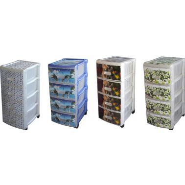 Пластмасов шкаф 4 етажен с различни декори (OR-145)   - Irak Plastik