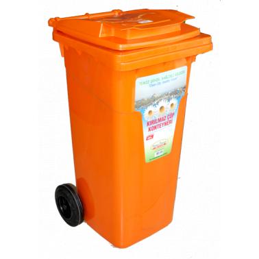 Пластмасов кош за отпадъци 120л. оранжев (CK-404)  -  Irak Plastik