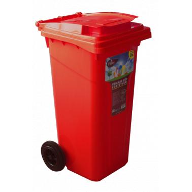 Пластмасов кош за отпадъци 120л. червен (CK-404)  -  Irak Plastik