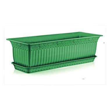 Пластмасова саксия АНТИК зелена 60x20x17см 13л ИП-(АВ-200)- Irak Plastik