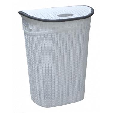 Пластмасов кош за пране с капак 52л. бял (LA-150)  -  Irak Plastik