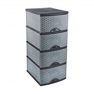 Пластмасов шкаф 4 етажа БЯЛО/СИВО/ЧЕРНО 38 x 47 x 95см (OR-160)  - Irak Plastik