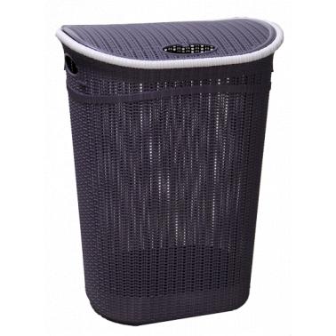 Пластмасов кош за пране с капак 52л. виолет  (LA-150) -  Irak Plastik