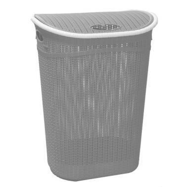 Пластмасов кош за пране с капак сив 52л  (LA-150)  - Irak Plastik