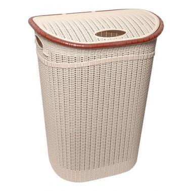 Пластмасов кош за пране с капак 52л бежов ИП-(LA-150)- Irak Plastik