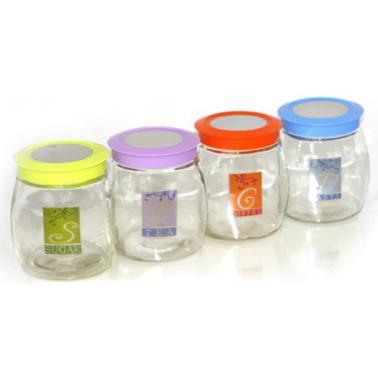 Стъклен буркан  с цветна капачка TOP-80793-13.5