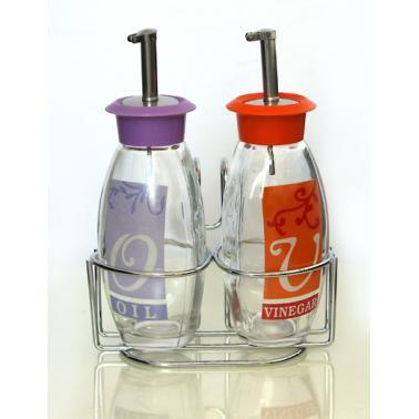Стъклен оливерник 2-ка на метална стойка цветен TOP-80801