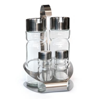 Стъклен оливерник от   5 части на хромирана стойка  HORECANO PREMIUM-(T1301)
