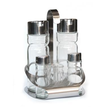 Стъклен оливерник от   6 части на хромирана стойка   HORECANO PREMIUM-(T2)