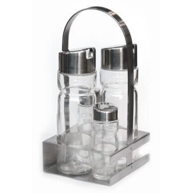 Стъклен оливерник от  5 части на квадратна хромирана  стойка HORECANO PREMIUM-(TT1302R)