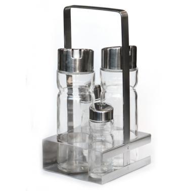 Стъклен оливерник от 5 части на квадратна хромирана  стойка HORECANO PREMIUM-(T1302S)