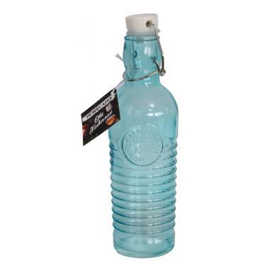 Стъклена бутилка с клипс синя 1л OLD FASHIONED-BLUE-(339269-B) - Horecano