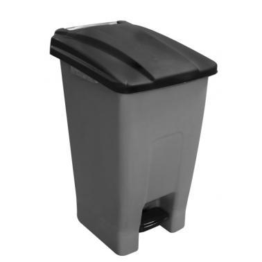 Пластмасов кошза разделно сметосъбиране с педал и колела 70л черен 44x52x74,5см PLANET-(UP-210)
