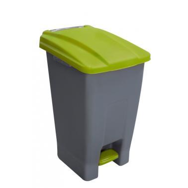 Пластмасов кош за разделно сметосъбиране с педал и колела 70л зелен44x52x74,5см PLANET-(UP-210)