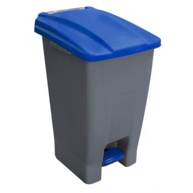 Пластмасов кош за разделно сметосъбиране с педал и колела, син 44x52x74,5см, 70л, PLANET (UP-210)
