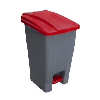 Пластмасов кош за разделно сметосъбиране с педал и колела 70л червен 44x52x74,5см PLANET-(UP-210)