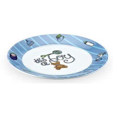 Меламинова детска чиния 20x20x1см синя / розова KN-(3120B) - Kulsan