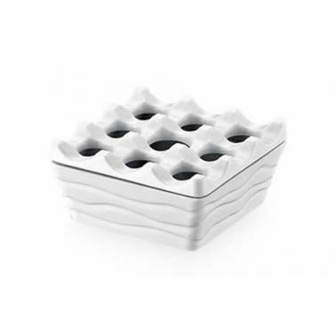 Меламинов пепелник ветроустойчив квадратен с капак 9x9x4.5см бял KN-(1600)- Kulsan