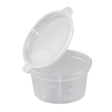 Пластмасова мини купичка за сос с капаче 30мл 1OZ 50бр PP (GSD-30) - Plast Port