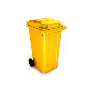 Пластмасов кош 80л. с колела жълт (U2X 80L) - UCAK