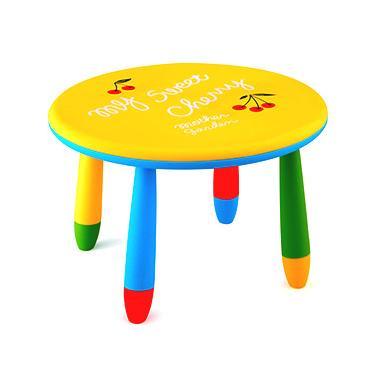 Пластмасова детска маса кръгла ф70см жълта  LXZ-101 - Horecano
