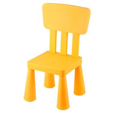 Пластмасово детско столче с облегалка жълто LXY-202 - Horecano
