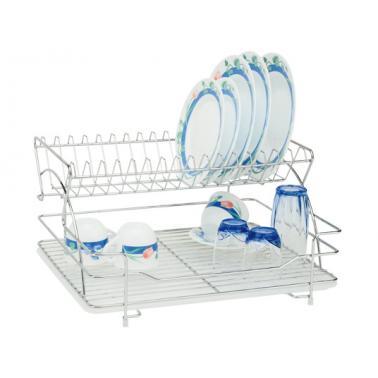 Иноксов стелаж / сушилник за чинии на 2 етажа 48x37x25см + подложна тавичкаDE LUX (40281)- Horecano