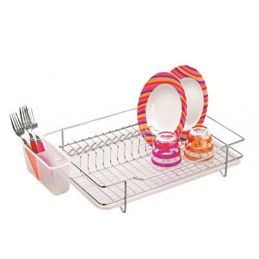 Иноксов стелаж / сушилник за чинии 1 етаж 52x67x48см с поставка за прибори и подложна тавичкаYonca- Horecano