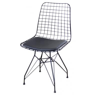 Метален стол мрежа с възглавница черен (T1)- Horecano